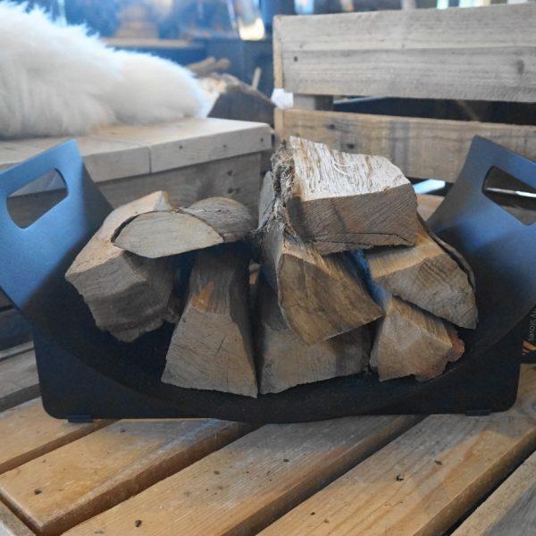 Stovax Black Log Holder - Curved